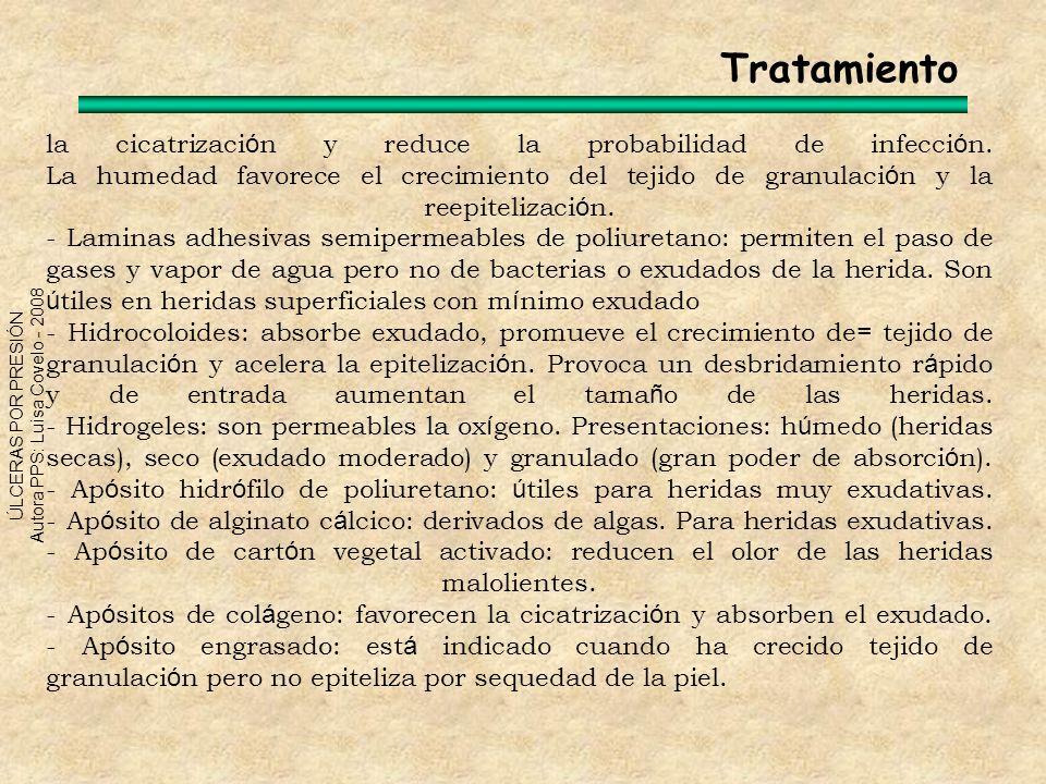 ÚLCERAS POR PRESIÓN Autora PPS: Luisa Covelo - 2008 la cicatrizaci ó n y reduce la probabilidad de infecci ó n. La humedad favorece el crecimiento del