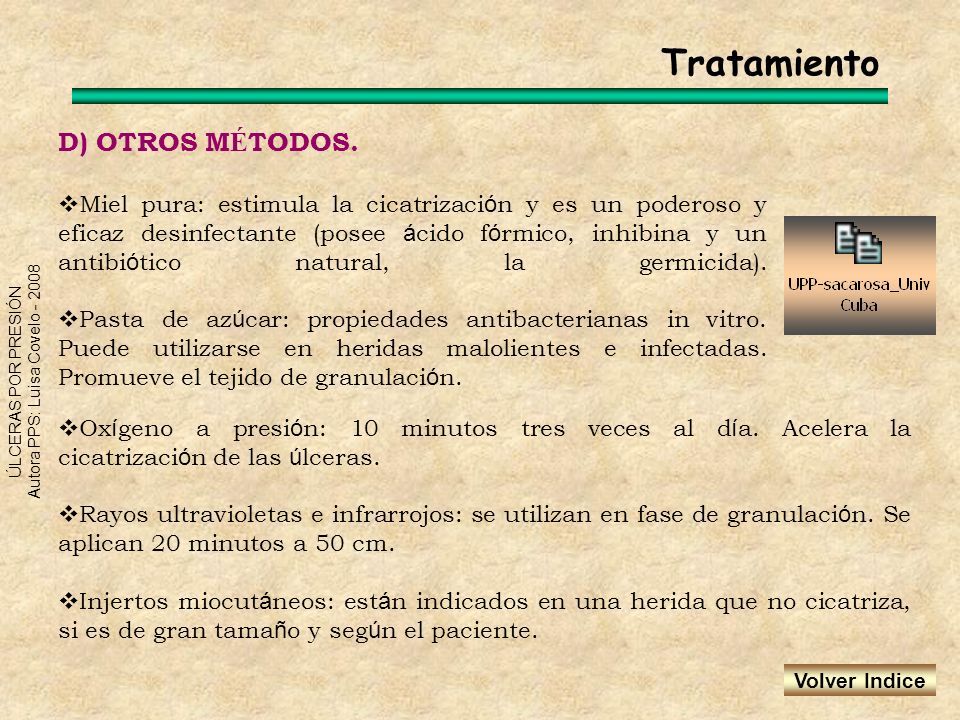 ÚLCERAS POR PRESIÓN Autora PPS: Luisa Covelo - 2008 D) OTROS M É TODOS. Miel pura: estimula la cicatrizaci ó n y es un poderoso y eficaz desinfectante