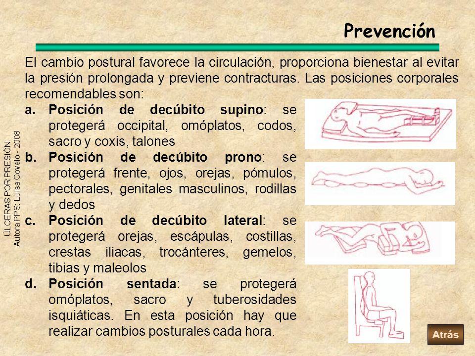 ÚLCERAS POR PRESIÓN Autora PPS: Luisa Covelo - 2008 Prevención El cambio postural favorece la circulación, proporciona bienestar al evitar la presión
