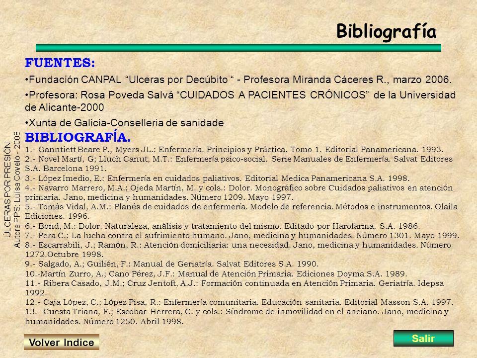 ÚLCERAS POR PRESIÓN Autora PPS: Luisa Covelo - 2008 Bibliografía FUENTES: Fundación CANPAL Ulceras por Decúbito - Profesora Miranda Cáceres R., marzo