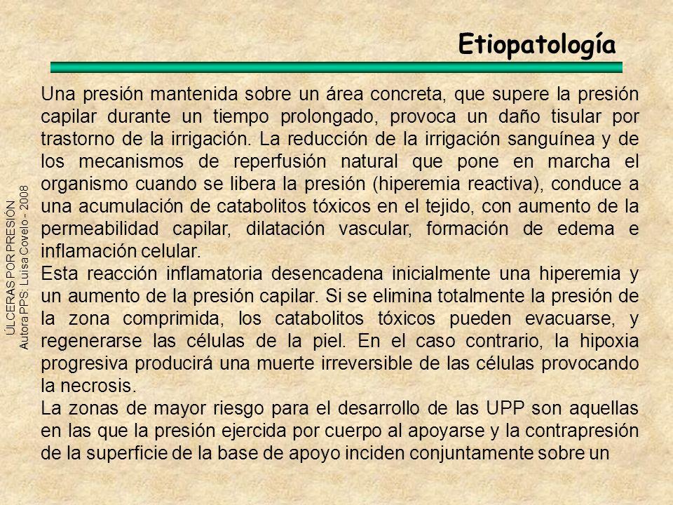 ÚLCERAS POR PRESIÓN Autora PPS: Luisa Covelo - 2008 área situada sobre una protuberancia ósea, y no suficientemente amortiguada por tejido adiposo subcutáneo.