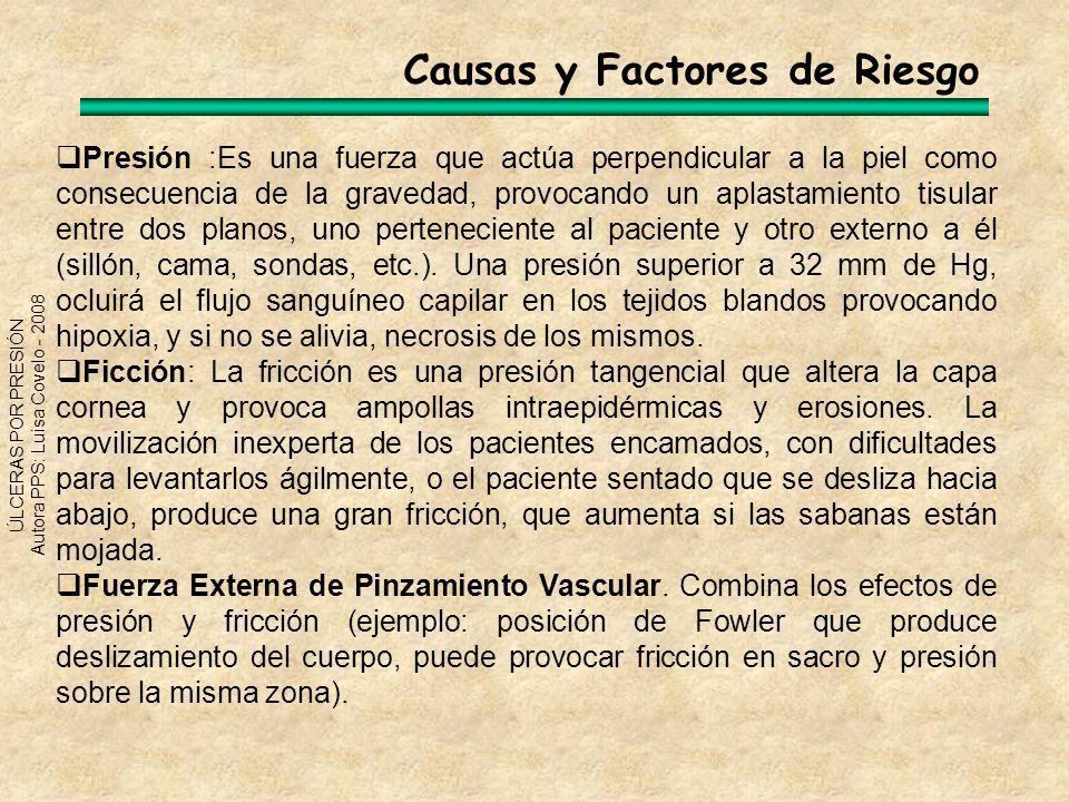 ÚLCERAS POR PRESIÓN Autora PPS: Luisa Covelo - 2008 Causas y Factores de Riesgo Presión :Es una fuerza que actúa perpendicular a la piel como consecue