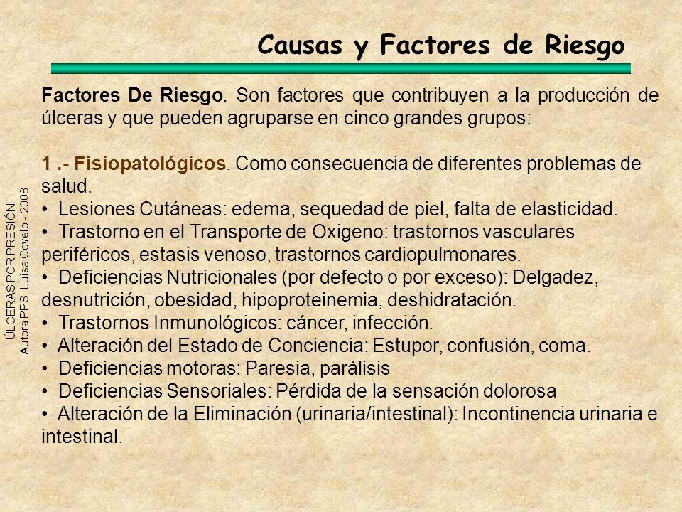 ÚLCERAS POR PRESIÓN Autora PPS: Luisa Covelo - 2008 Factores De Riesgo. Son factores que contribuyen a la producción de úlceras y que pueden agruparse