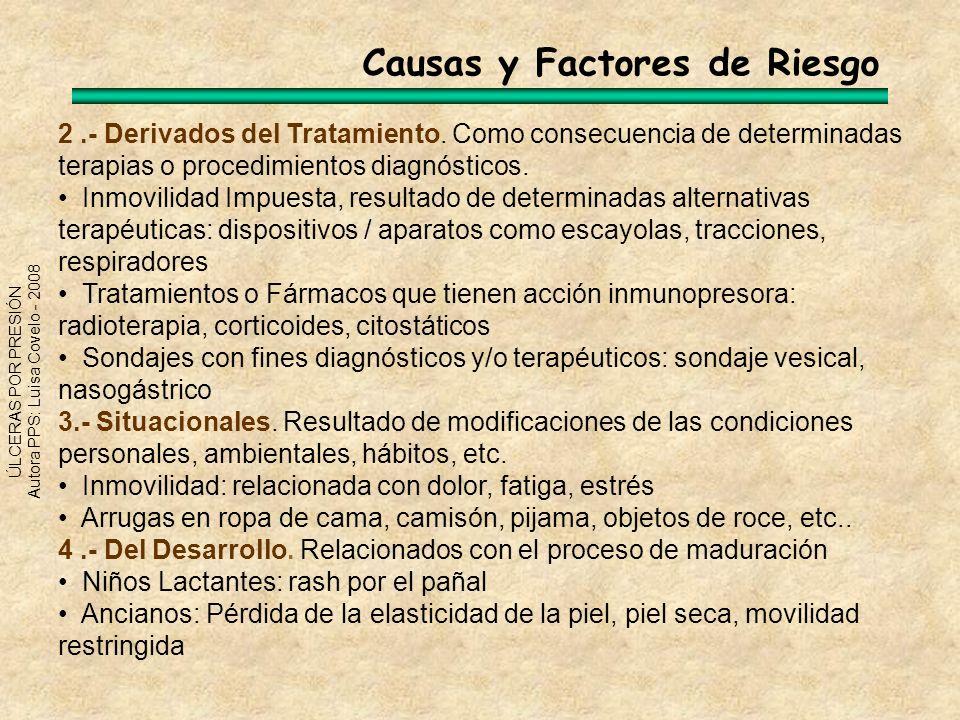 ÚLCERAS POR PRESIÓN Autora PPS: Luisa Covelo - 2008 2.- Derivados del Tratamiento. Como consecuencia de determinadas terapias o procedimientos diagnós