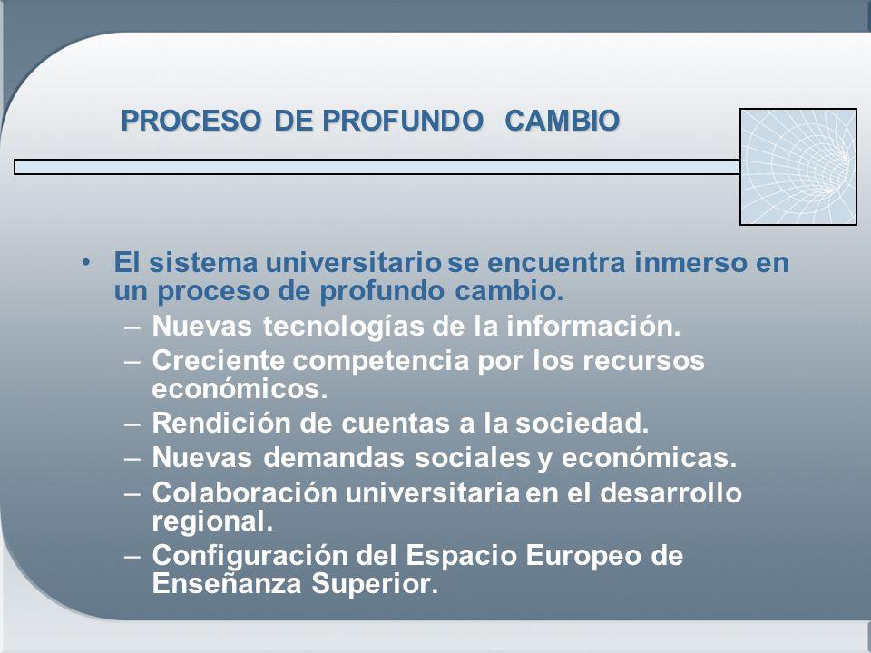 PROCESO DE PROFUNDO CAMBIO El sistema universitario se encuentra inmerso en un proceso de profundo cambio.