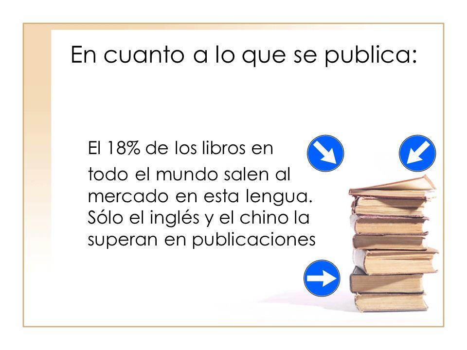 En cuanto a lo que se publica: El 18% de los libros en todo el mundo salen al mercado en esta lengua.