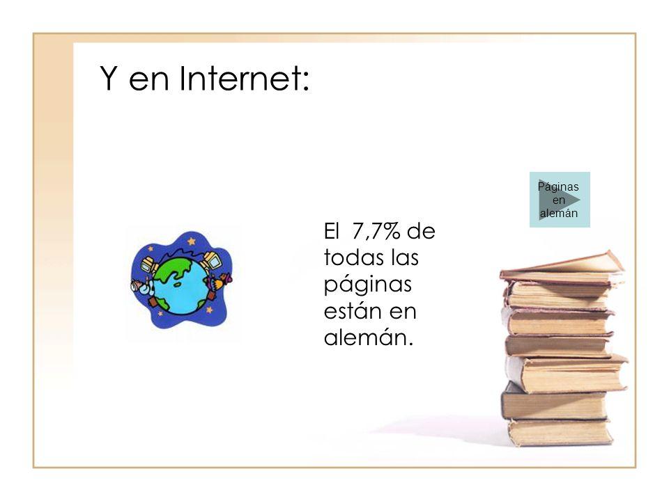 Y en Internet: El 7,7% de todas las páginas están en alemán. Páginas en alemán