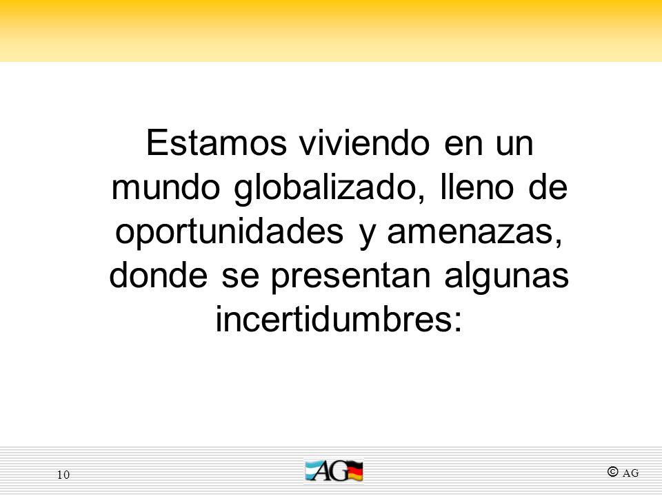 10 Estamos viviendo en un mundo globalizado, lleno de oportunidades y amenazas, donde se presentan algunas incertidumbres: © AG