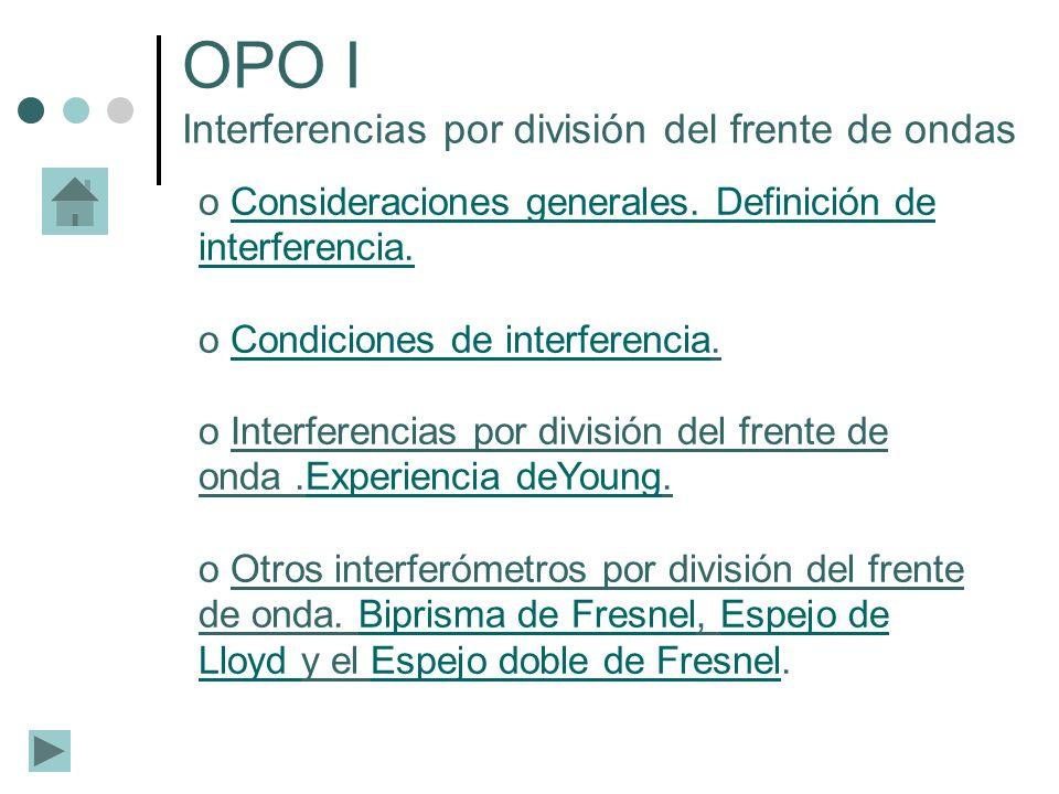 o Consideraciones generales. Definición de interferencia.Consideraciones generales. Definición de interferencia. o Condiciones de interferencia.Condic