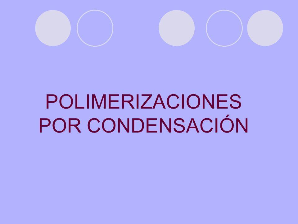En las polimerizaciones por condensación, algunos de los átomos del monómero no forman parte del polímero, sino que son liberados en forma de moléculas pequeñas, generalmente H 2 O.