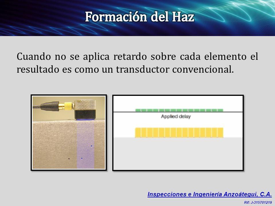 Cuando no se aplica retardo sobre cada elemento el resultado es como un transductor convencional. Inspecciones e Ingeniería Anzoátegui, C.A. Rif: J-31
