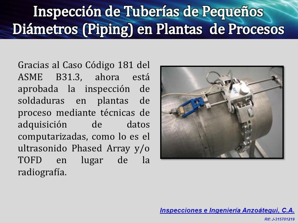 Gracias al Caso Código 181 del ASME B31.3, ahora está aprobada la inspección de soldaduras en plantas de proceso mediante técnicas de adquisición de d