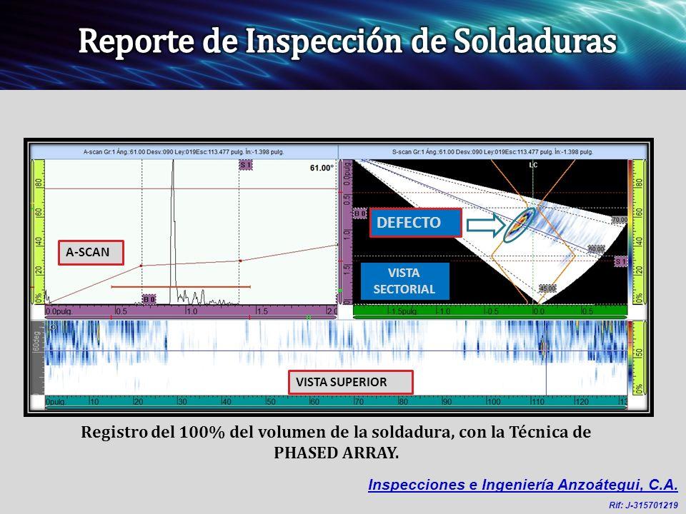 Registro del 100% del volumen de la soldadura, con la Técnica de PHASED ARRAY.