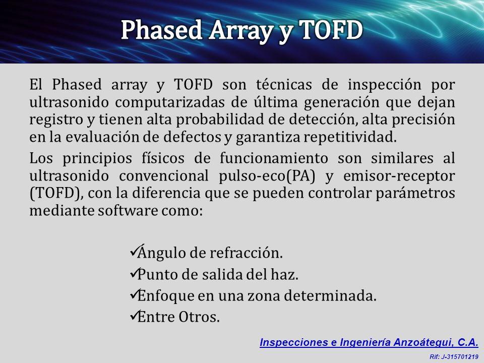 El Phased array y TOFD son técnicas de inspección por ultrasonido computarizadas de última generación que dejan registro y tienen alta probabilidad de