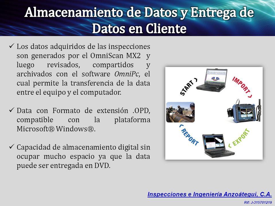 Los datos adquiridos de las inspecciones son generados por el OmniScan MX2 y luego revisados, compartidos y archivados con el software OmniPc, el cual