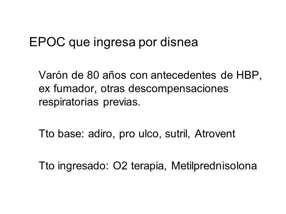 EPOC que ingresa por disnea Varón de 80 años con antecedentes de HBP, ex fumador, otras descompensaciones respiratorias previas. Tto base: adiro, pro