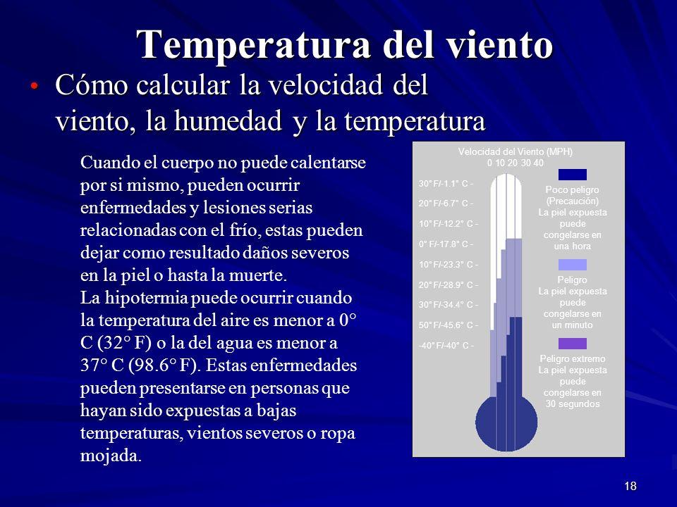 18 Temperatura del viento Cómo calcular la velocidad del viento, la humedad y la temperatura Cómo calcular la velocidad del viento, la humedad y la te