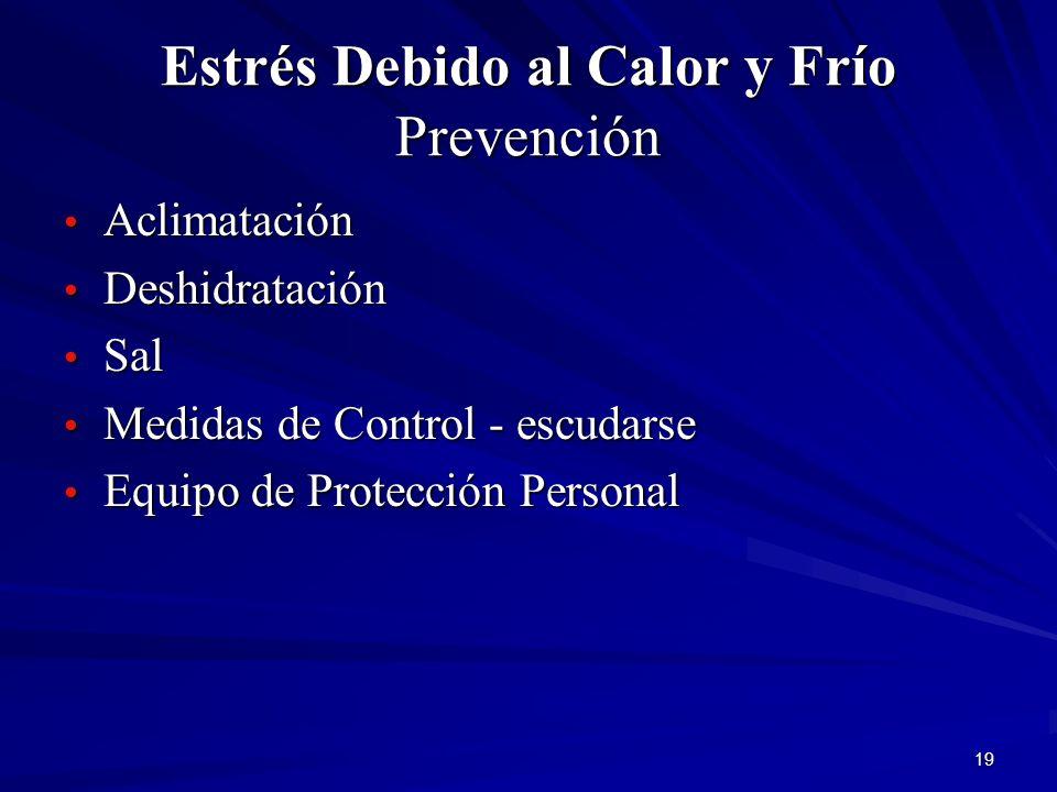 19 Estrés Debido al Calor y Frío Prevención Aclimatación Aclimatación Deshidratación Deshidratación Sal Sal Medidas de Control - escudarse Medidas de