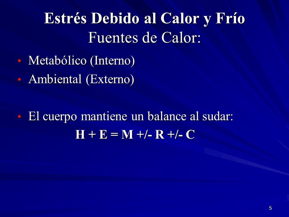 5 Estrés Debido al Calor y Frío Fuentes de Calor: Metabólico (Interno) Metabólico (Interno) Ambiental (Externo) Ambiental (Externo) El cuerpo mantiene