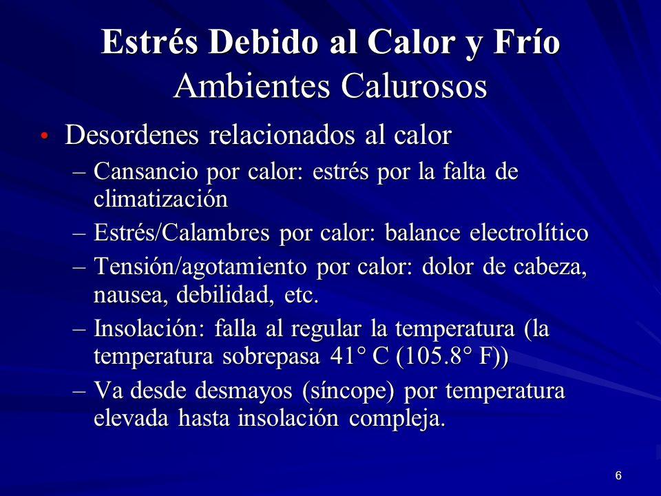 6 Estrés Debido al Calor y Frío Ambientes Calurosos Desordenes relacionados al calor Desordenes relacionados al calor –Cansancio por calor: estrés por