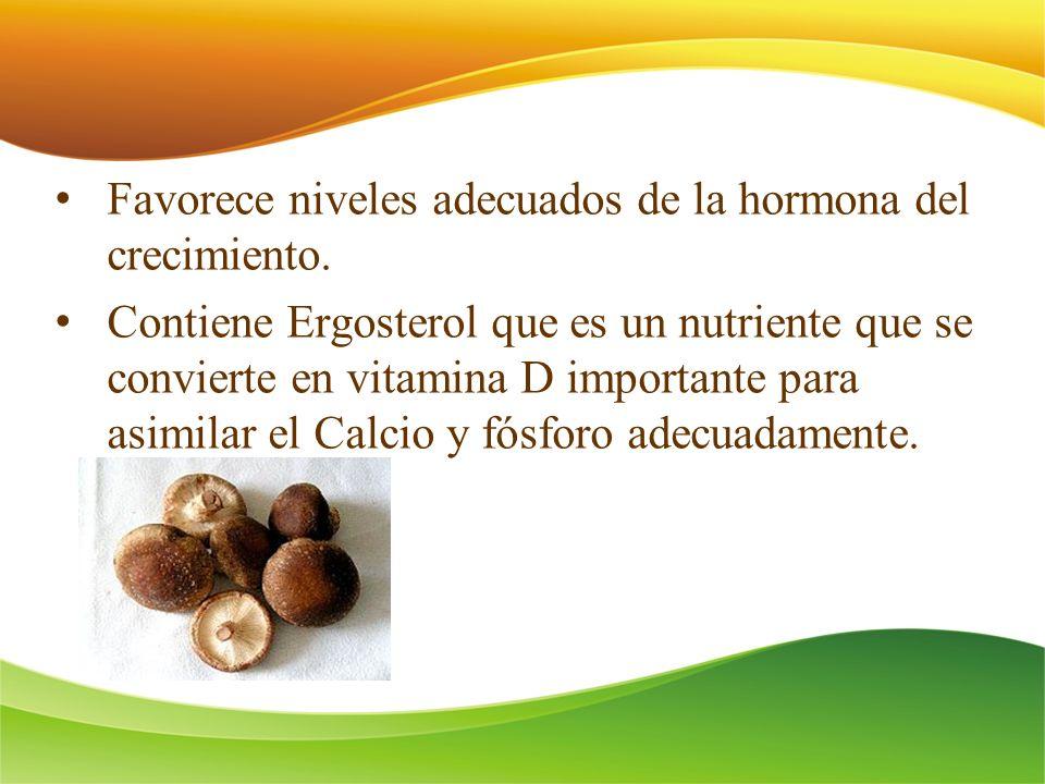 Favorece niveles adecuados de la hormona del crecimiento. Contiene Ergosterol que es un nutriente que se convierte en vitamina D importante para asimi