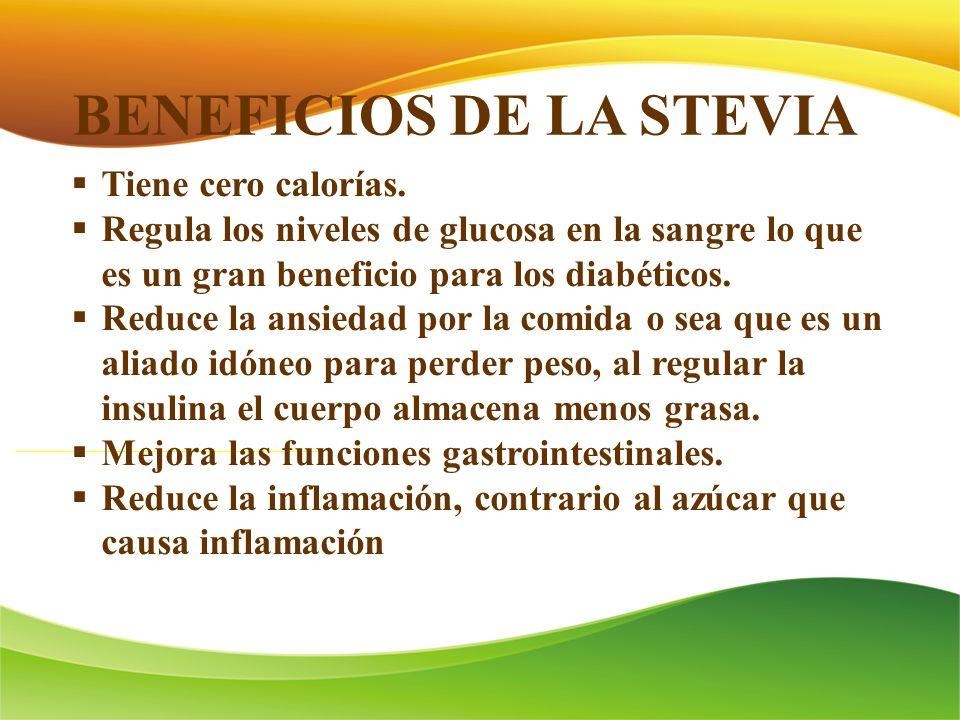 BENEFICIOS DE LA STEVIA Tiene cero calorías. Regula los niveles de glucosa en la sangre lo que es un gran beneficio para los diabéticos. Reduce la ans
