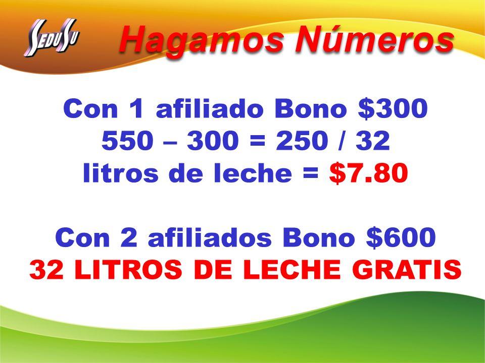 Hagamos Números Con 1 afiliado Bono $300 550 – 300 = 250 / 32 litros de leche = $7.80 Con 2 afiliados Bono $600 32 LITROS DE LECHE GRATIS