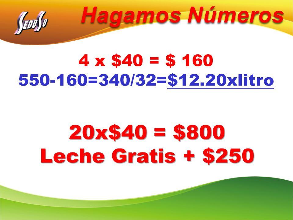 Hagamos Números 4 x $40 = $ 160 550-160=340/32=$12.20xlitro 20x$40 = $800 Leche Gratis + $250