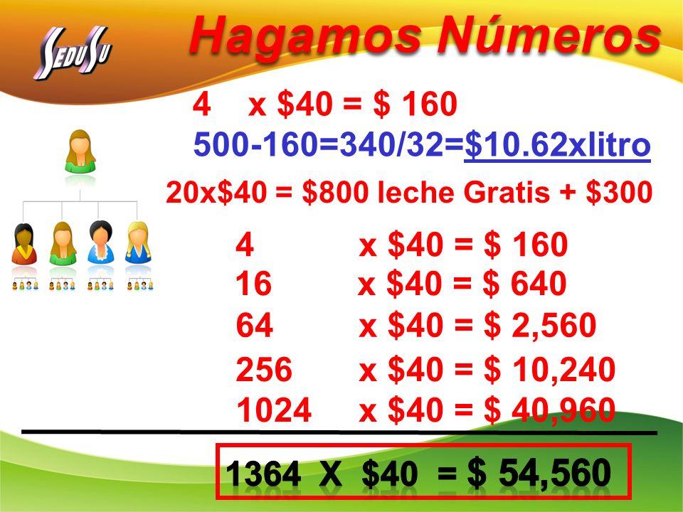 Hagamos Números 4 x $40 = $ 160 16 x $40 = $ 640 64 x $40 = $ 2,560 256 x $40 = $ 10,240 1024 x $40 = $ 40,960 4x $40 = $ 160 500-160=340/32=$10.62xli