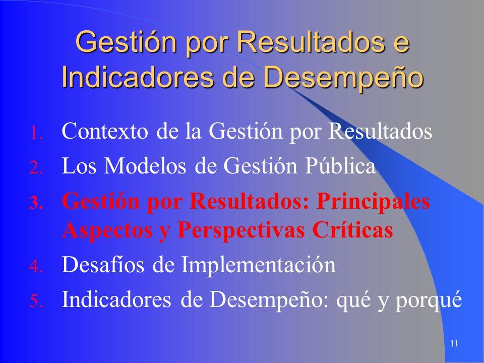 11 Gestión por Resultados e Indicadores de Desempeño 1. Contexto de la Gestión por Resultados 2. Los Modelos de Gestión Pública 3. Gestión por Resulta