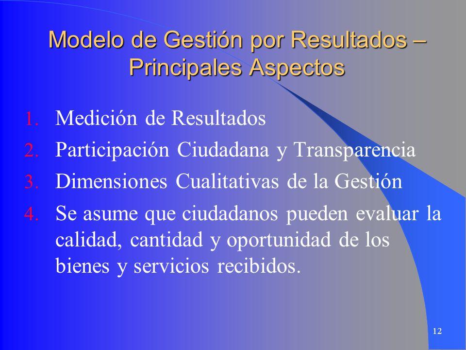 12 Modelo de Gestión por Resultados – Principales Aspectos 1. Medición de Resultados 2. Participación Ciudadana y Transparencia 3. Dimensiones Cualita