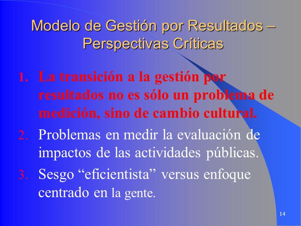 14 Modelo de Gestión por Resultados – Perspectivas Críticas 1. La transición a la gestión por resultados no es sólo un problema de medición, sino de c