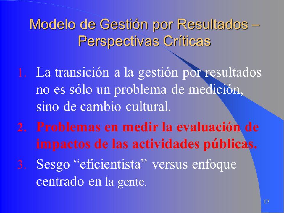 17 Modelo de Gestión por Resultados – Perspectivas Críticas 1. La transición a la gestión por resultados no es sólo un problema de medición, sino de c