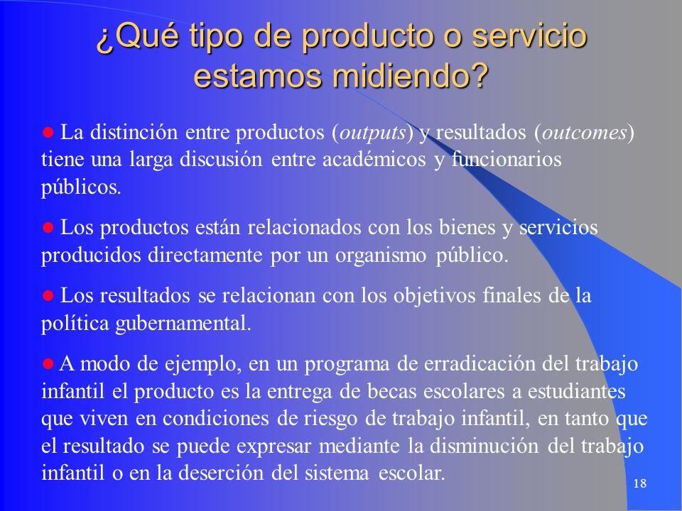 18 ¿Qué tipo de producto o servicio estamos midiendo? La distinción entre productos (outputs) y resultados (outcomes) tiene una larga discusión entre