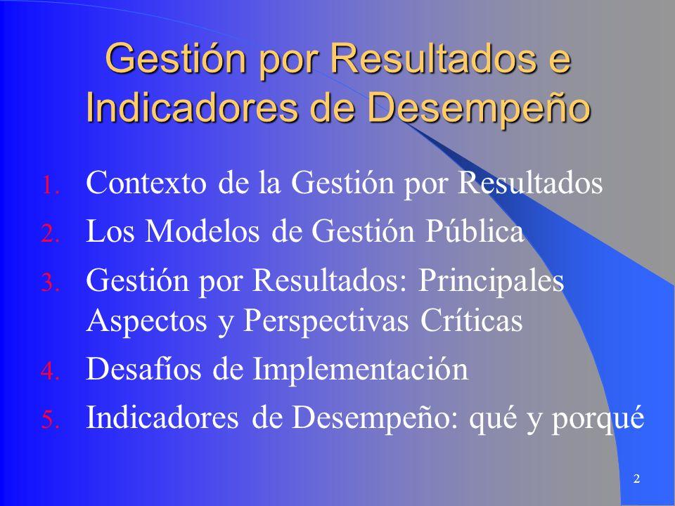 2 Gestión por Resultados e Indicadores de Desempeño 1. Contexto de la Gestión por Resultados 2. Los Modelos de Gestión Pública 3. Gestión por Resultad