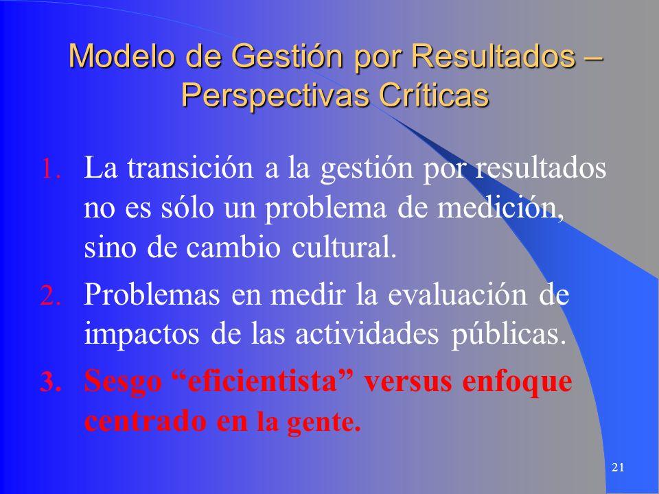21 Modelo de Gestión por Resultados – Perspectivas Críticas 1. La transición a la gestión por resultados no es sólo un problema de medición, sino de c