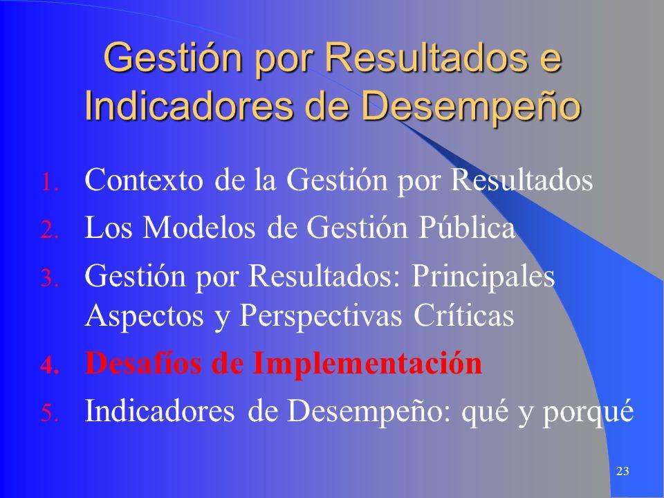 23 Gestión por Resultados e Indicadores de Desempeño 1. Contexto de la Gestión por Resultados 2. Los Modelos de Gestión Pública 3. Gestión por Resulta