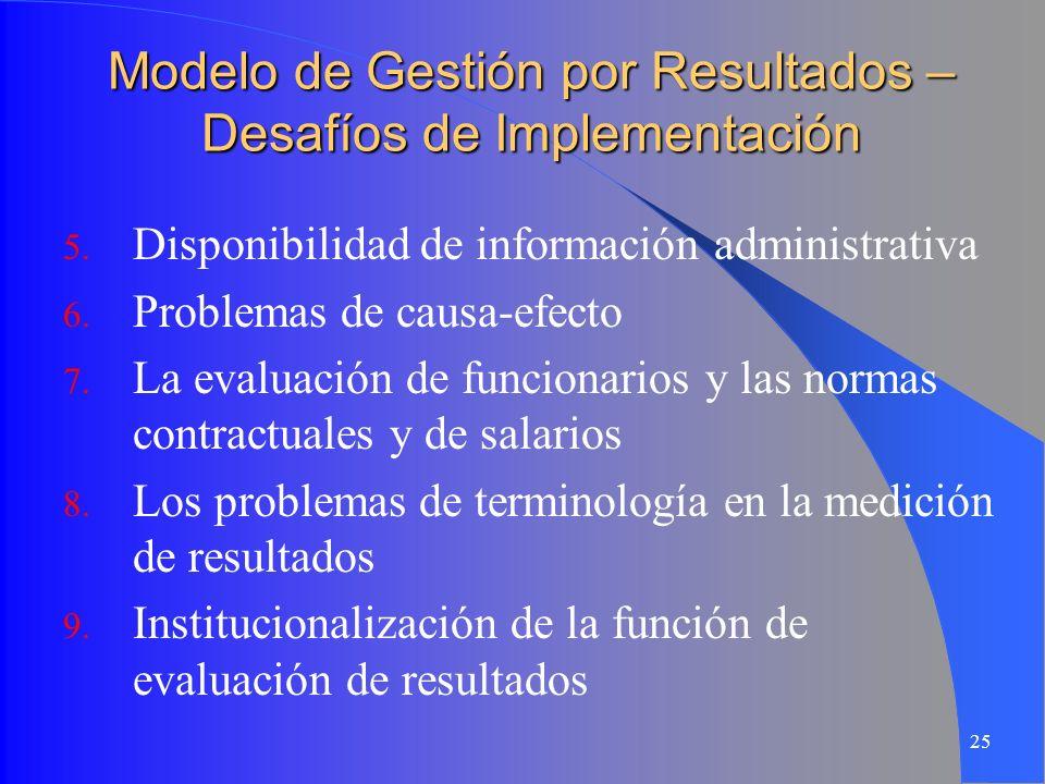 25 Modelo de Gestión por Resultados – Desafíos de Implementación 5. Disponibilidad de información administrativa 6. Problemas de causa-efecto 7. La ev