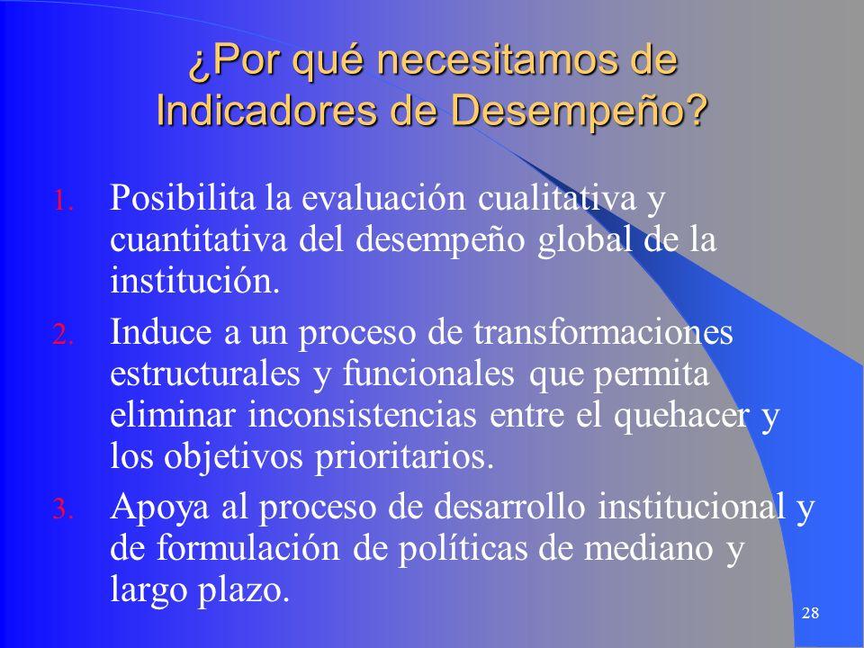 28 ¿Por qué necesitamos de Indicadores de Desempeño? 1. Posibilita la evaluación cualitativa y cuantitativa del desempeño global de la institución. 2.