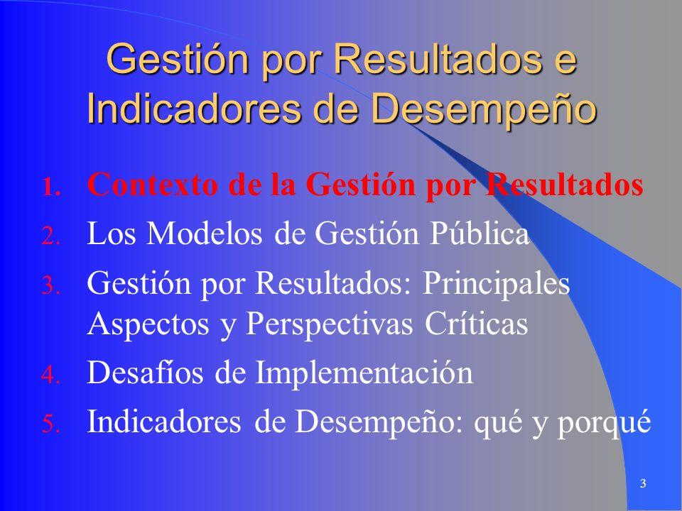 3 Gestión por Resultados e Indicadores de Desempeño 1. Contexto de la Gestión por Resultados 2. Los Modelos de Gestión Pública 3. Gestión por Resultad