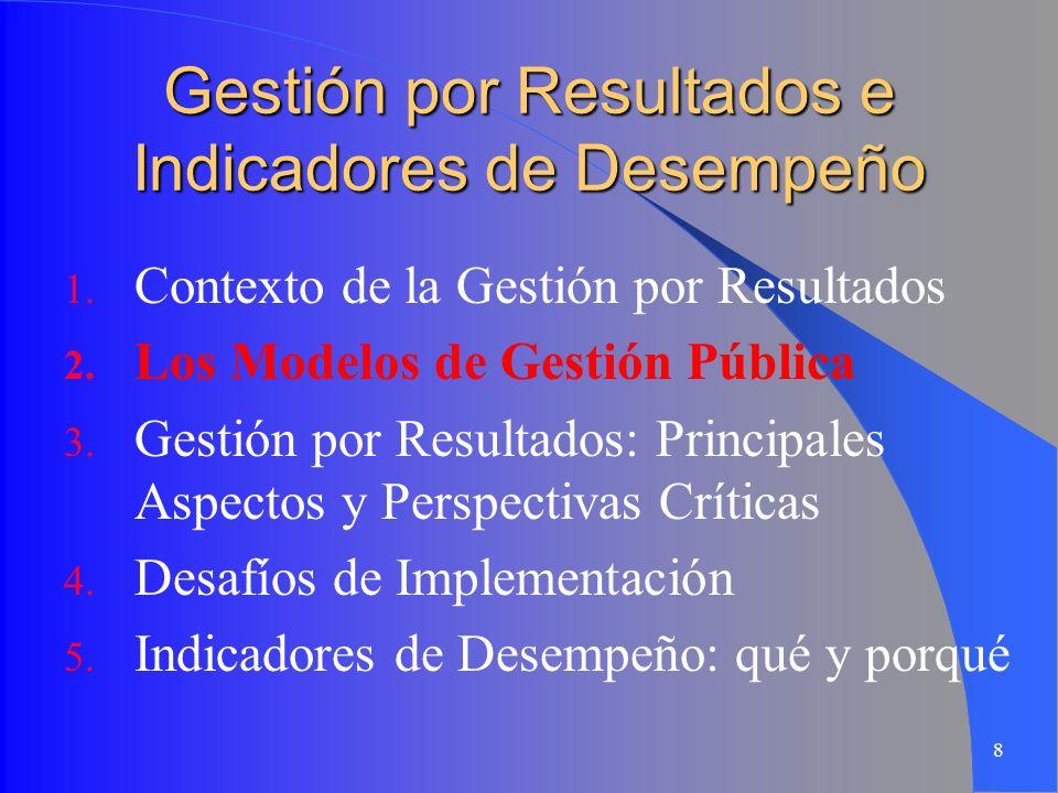 8 Gestión por Resultados e Indicadores de Desempeño 1. Contexto de la Gestión por Resultados 2. Los Modelos de Gestión Pública 3. Gestión por Resultad