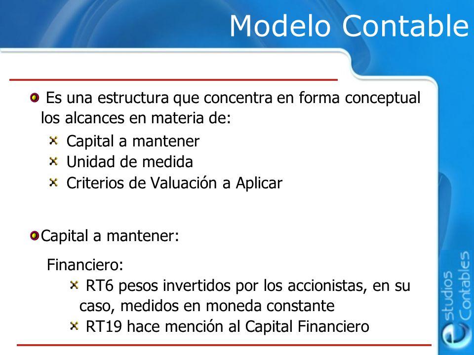Es una estructura que concentra en forma conceptual los alcances en materia de: Capital a mantener Unidad de medida Criterios de Valuación a Aplicar C