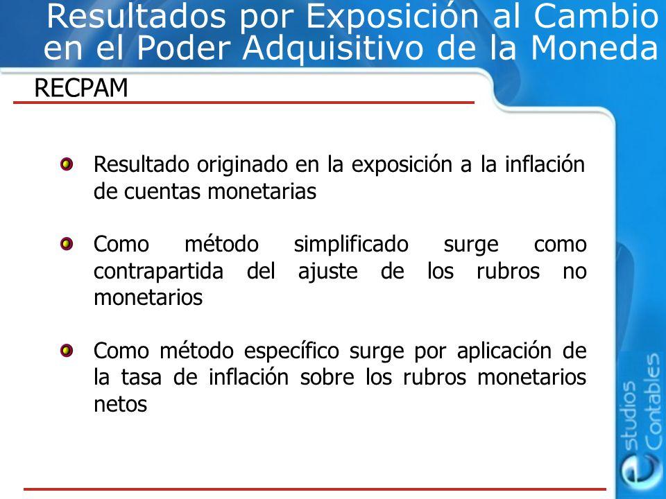 RECPAM Resultado originado en la exposición a la inflación de cuentas monetarias Como método simplificado surge como contrapartida del ajuste de los r
