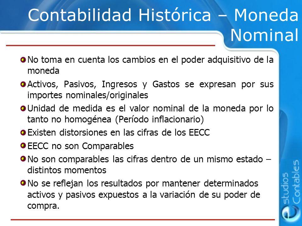 No toma en cuenta los cambios en el poder adquisitivo de la moneda Activos, Pasivos, Ingresos y Gastos se expresan por sus importes nominales/original