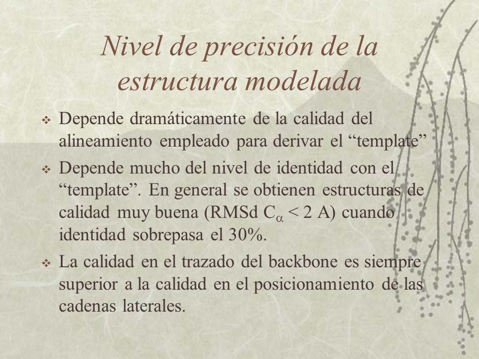Etapas básicas en el modelado Identificación homólogos Alineamiento Determinación restricciones Construcción modelo Refinado Validación