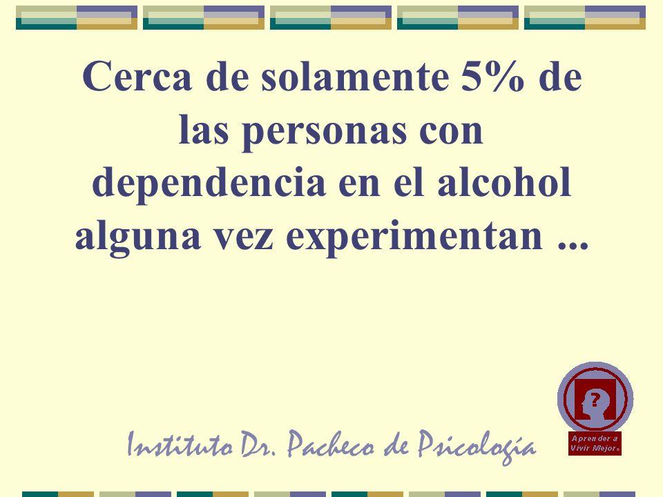Instituto Dr. Pacheco de Psicología Cerca de solamente 5% de las personas con dependencia en el alcohol alguna vez experimentan...