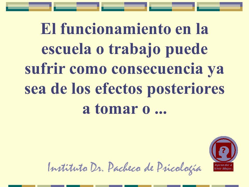 Instituto Dr. Pacheco de Psicología El funcionamiento en la escuela o trabajo puede sufrir como consecuencia ya sea de los efectos posteriores a tomar