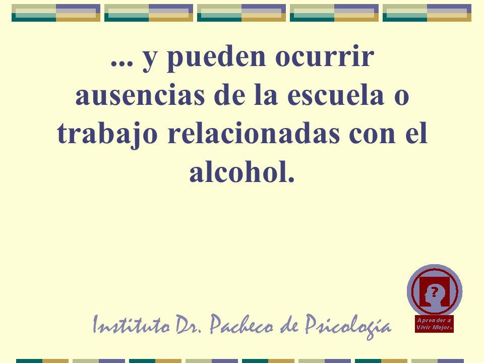 Instituto Dr. Pacheco de Psicología... y pueden ocurrir ausencias de la escuela o trabajo relacionadas con el alcohol.
