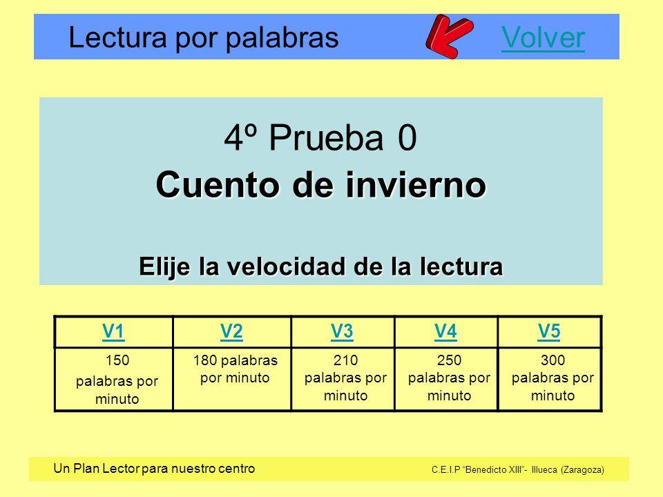 Lectura por palabras VolverVolver Un Plan Lector para nuestro centro C.E.I.P Benedicto XIII- Illueca (Zaragoza) V1 V2 V3 V4 V5 150 palabras por minuto