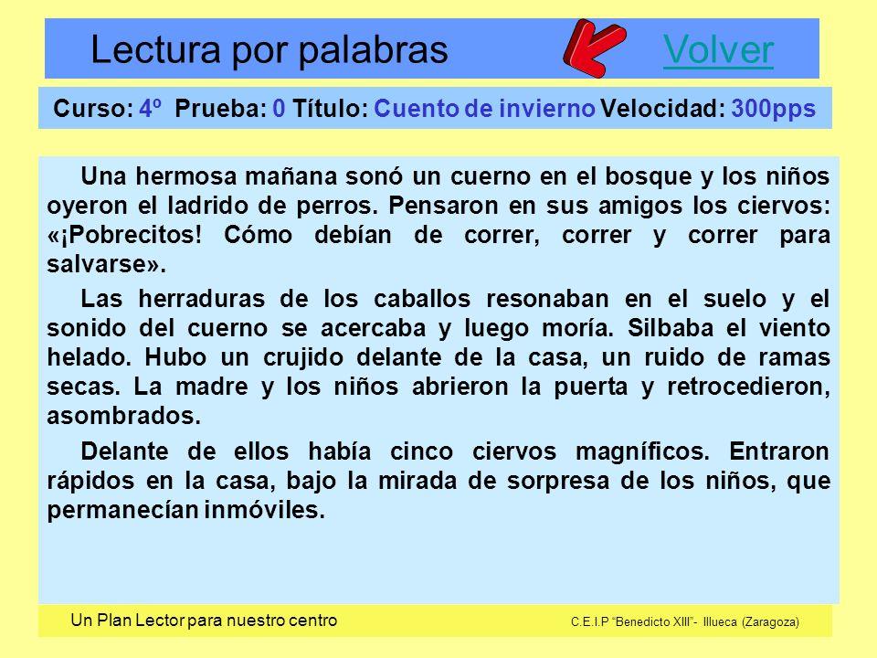 Lectura por palabras VolverVolver Un Plan Lector para nuestro centro C.E.I.P Benedicto XIII- Illueca (Zaragoza) Curso: 4º Prueba: 0 Título: Cuento de